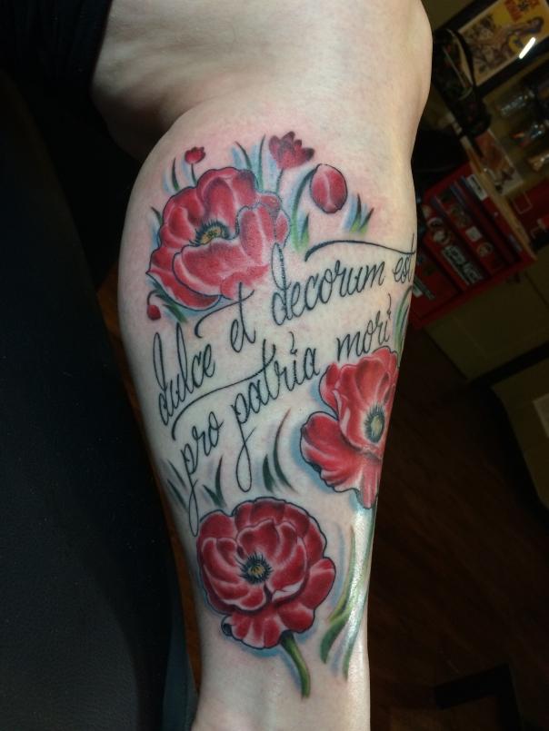 finished poppy tattoo