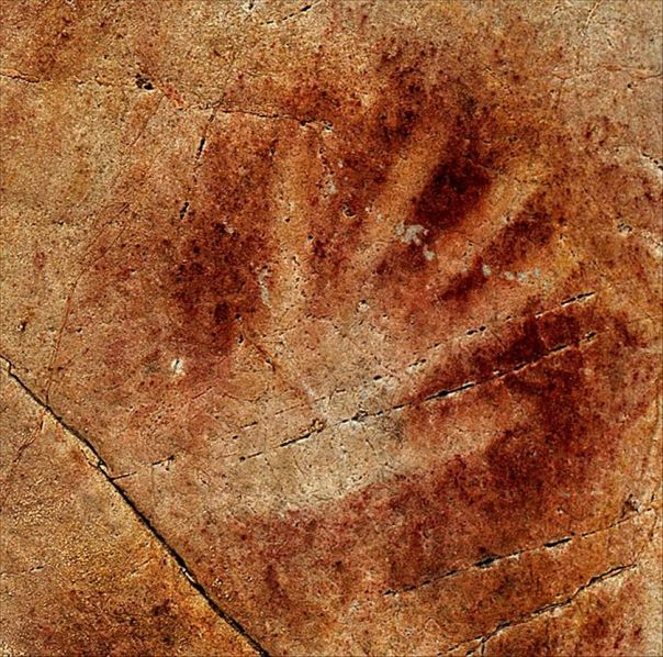 cave painting hand