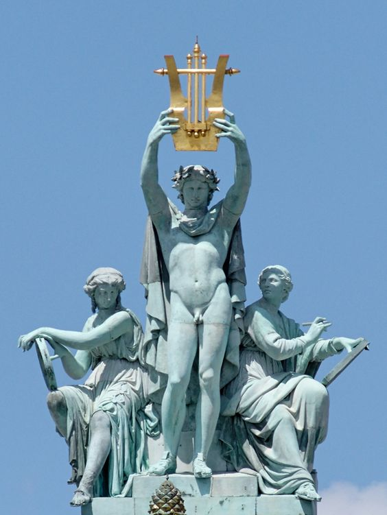 apollo holding lyre aloft