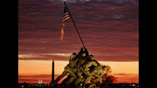 Early Morning Sun Begins To Rise Behind Iwo Jima Memorial