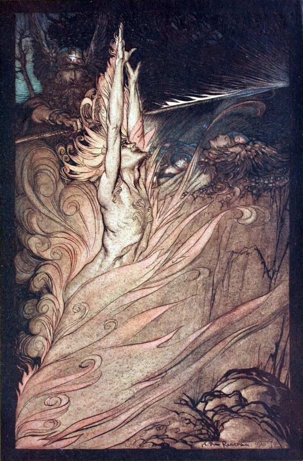 Loki Appear flickering fire Encircle the rock with thy flame Loge Appear Arthur Rackham painting illustration 1910 The Rhinegold and the Valkyrie Richard Wagner cycle ring of the nibelung nibelungen rheingold walkure.jpg